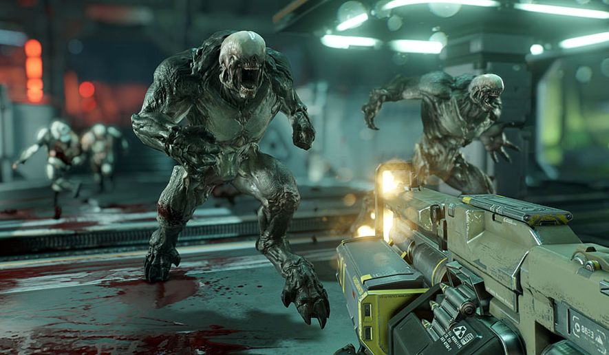 Hell Knights attacks a lone Marine on the planet Mars in the first person shooter Doom. (Courtesy Bethesda Softworks)