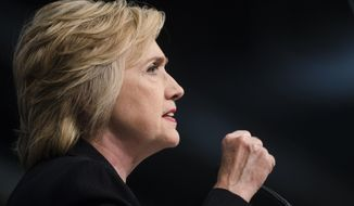 In this July 8, 2016 file photo, Democratic presidential candidate Hillary Clinton speaks in Philadelphia. In another nod to primary rival Bernie Sanders, Hillary Clinton is announcing a new proposal to double funding for community health centers, aiming to increase access to primary care services.  (AP Photo/Matt Rourke, File)