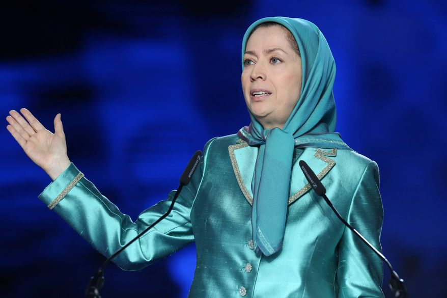 """MEK leader Maryam Rajavi called for a """"firm European policy which necessarily requires lending support to the Iranian people's resistance [in order] to establish democracy and popular sovereignty"""" in Iran."""