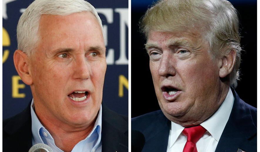 This photo combination of file images shows Indiana Gov. Mike Pence, left, and Republican presidential candidate Donald Trump. A major shake-up for Indiana politics could be coming this week as Trump considers Pence as his Republican vice presidential choice. Pence is expected to attend a fundraising event and rally in Indiana with Trump on Tuesday, July 12. (AP Photo/Michael Conroy, David Zalubowski)