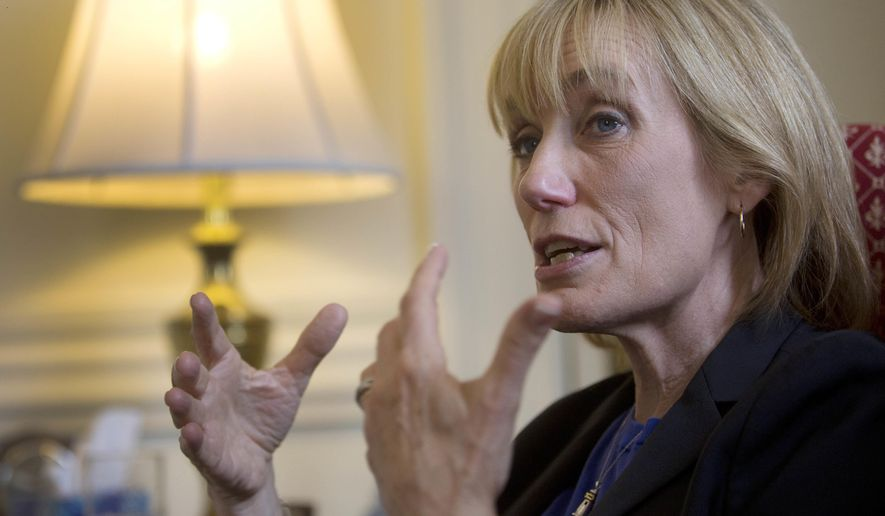 In this Thursday, July 7, 2016, photo, Gov. Maggie Hassan, D-N.H., speaks during an interview in her office in Concord, N.H. In her state of the state address last February, Hassan announced an $8 million initiative to provide skills training, transportation and other services to help low-income people find better paying jobs. But repeated delays from a legislative committee that holds power of the purse means the program is still months away from getting off the ground, if it ever starts at all. (AP Photo/Jim Cole)
