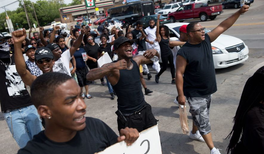 "Even as protesters continue to march in Dallas, Black Lives Matter leaders have denounced the bloodshed there Thursday. They said in a post after the massacre of five police officers and the woundings of others that ""[b]lack activists have raised the call for an end to violence, not an escalation of it."" (Associated Press)"