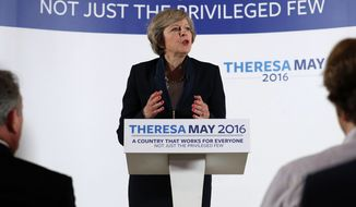 Britain's Home Secretary Theresa May officially launches her campaign to become prime minister in Birmingham, England, Monday, July 11, 2016. On the day that May launched her bid, her only contender Andrea Leadsom has announced that she is withdrawing, seemingly leaving Theresa May to assume the position of Conservative Party leader and the office of Prime Minister. (Chris Radburn / PA via AP)