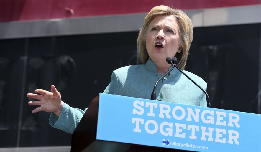 Democratic presidential candidate Hillary Clinton addresses a gathering on the Boardwalk Wednesday, July 6, 2016, in Atlantic City, N.J. (AP Photo/Mel Evans) ** FILE **
