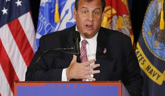 New Jersey Gov. Chris Christie gestures as he introduces Republican Presidential Candidate Donald Trump during a rally in Virginia Beach, Va., Monday, July 11, 2016. (AP Photo/Steve Helber)