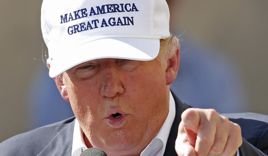 In this Thursday, June 30, 2016, file photo, Republican presidential candidate Donald Trump speaks at a town hall-style campaign event at the former Osram Sylvania light bulb factory in Manchester, N.H. (AP Photo/Robert F. Bukaty, File)