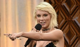 Taylor Swift accepts the BMI Taylor Swift Award at the 64th annual BMI Pop Awards at the Beverly Wilshire Hotel in Beverly Hills, Calif., in this May 10, 2016, file photo. The singer-songwriter tops Forbes' annual list of the 100 highest-paid celebrities with $170 million.  (Photo by Chris Pizzello/Invision/AP, File)