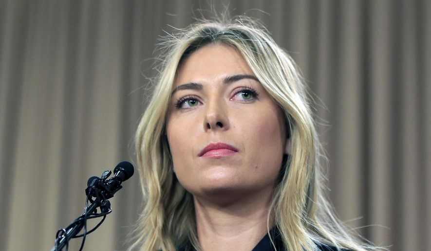 FILE - In this Monday March 7, 2016 file photo, tennis star Maria Sharapova speaks about her failed drug test at the Australia Open during a news conference in Los Angeles. A ruling by the Court of Arbitration for Sport said on Monday July 11, 2016 that Maria Sharapova's appeal of her two-year doping ban has been postponed until September, ruling her definitively out of the Olympics in Rio de Janeiro. (AP Photo/Damian Dovarganes, File)
