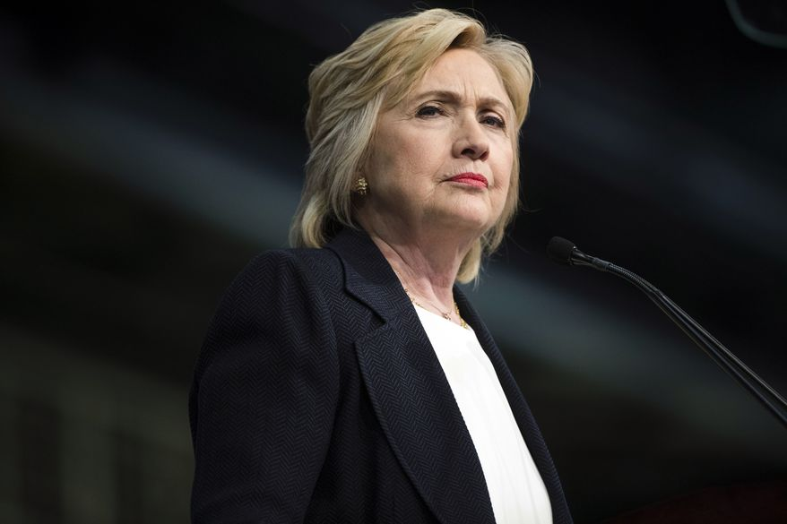 In this July 8, 2016, photo, Democratic presidential candidate Hillary Clinton speaks at the African Methodist Episcopal church national convention in Philadelphia. (AP Photo/Matt Rourke)