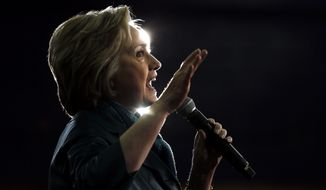 Democratic presidential candidate Hillary Clinton speaks during a campaign stop at the University of Bridgeport in Bridgeport, Conn., in this Sunday, April 24, 2016, file photo. (AP Photo/Matt Rourke)