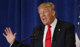 FILE - In thus July 11, 2016 file photo, Republican Presidential candidate Donald Trump speaks in Virginia Beach, Va. (AP Photo/Steve Helber, File) *FILE**