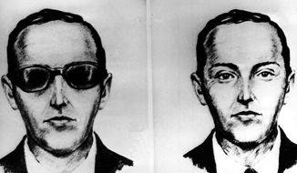 "This undated artist' sketch shows the skyjacker known as D.B. Cooper from recollections of the passengers and crew of a Northwest Airlines jet he hijacked between Portland and Seattle on Thanksgiving eve in 1971. The FBI says it's no longer actively investigating the unsolved mystery of D.B. Cooper. The bureau announced it's ""exhaustively reviewed all credible leads"" during its 45-year investigation. (AP Photo, file)"