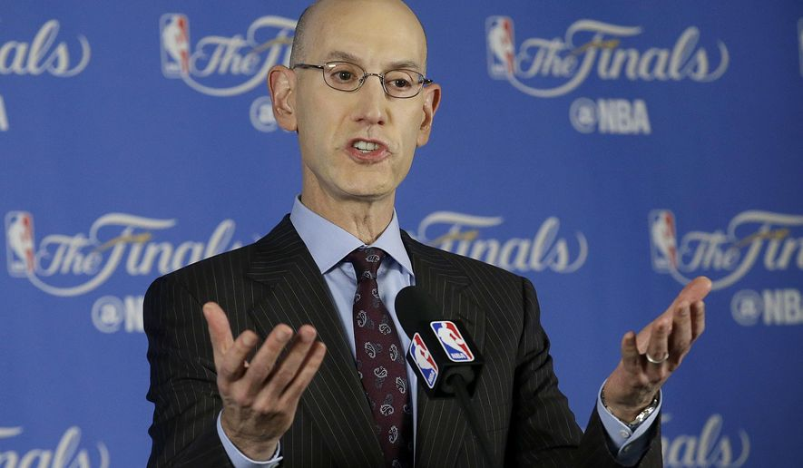 FILE- In this June 2, 2016, file photo, NBA commissioner Adam Silver speaks during a news conference before Game 1 of basketball's NBA Finals between the Golden State Warriors and the Cleveland Cavaliers in Oakland, Calif. NBA owners made no decision Tuesday, July 12, after a lengthy debate about moving next year's All-Star Game from Charlotte because of North Carolina's law limiting protection for LGBT people. (AP Photo/Jeff Chiu, File)