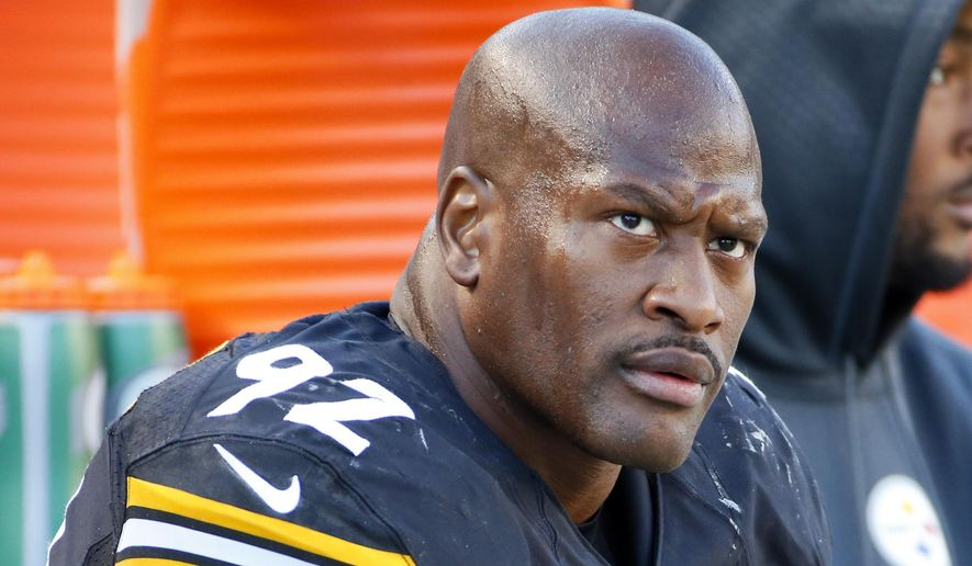 "FILE - In this Nov. 8, 2015, file photo, Pittsburgh Steelers outside linebacker James Harrison (92) sits on the sidelines during an NFL football game against the Oakland Raiders in Pittsburgh. Harrison said in an affidavit sent to the NFL that he never met nor communicated with the source of a media report that linked him and other players to the use of performance-enhancing drugs. Harrison has insisted that league officials have to provide ""credible evidence"" before he agrees to an interview. The NFL Players Association sent a letter on his behalf along with the signed affidavit to NFL executive Adolpho Birch on Monday, July 11, 2016. (AP Photo/Gene J. Puskar, File)"