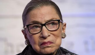 FILE - In this June 1, 2016, file photo, Supreme Court Justices Ruth Bader Ginsburg speaks in Washington. Ginsburg says the Supreme Court shut down tactics used by opponents of abortion and affirmative action in higher education in two major cases the justices decided at the end of their term. Ginsburg says in an interview with The Associated Press that she doesn't soon expect to see any more of those cases. (AP Photo/Cliff Owen, File)