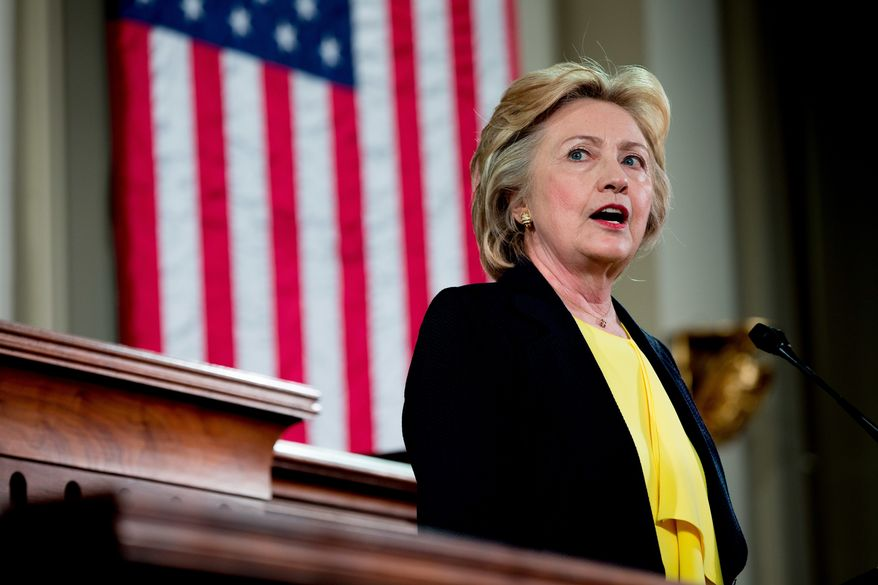 Democratic presidential candidate Hillary Clinton Speaks at the Old State House in Springfield, Ill., Wednesday, July 13, 2016. (AP Photo/Andrew Harnik)