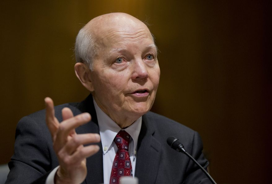 FILE - In this Feb. 10, 2016 file photo, Internal Revenue Service (IRS) Commissioner John Koskinen testifies on Capitol Hill in Washington. House conservatives on July 13, 2016, have taken the first step to force an impeachment vote on Koskinen. Conservatives accuse Koskinen of gross negligence, arguing he stonewalled their investigation into IRS targeting of conservative groups. (AP Photo/Manuel Balce Ceneta, File)