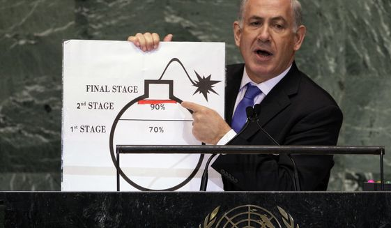In this Sept. 27, 2012 photo, Israeli Prime Minister Benjamin Netanyahu shows an illustration as he describes his concerns over Iran's nuclear ambitions during his address to the 67th session of the United Nations General Assembly at U.N. headquarters. The Iran nuclear accord is fragile at its one-year anniversary. Upcoming elections in the U.S. and Iran could yield new leaders determined to derail the deal. The Mideast wars pit U.S. and Iranian proxies in conflict, with risks of escalation. Iran's ballistic missiles are threatening American allies in the Arab world and Israel, raising pressure on the United States to respond with force.  (AP Photo/Richard Drew, File)