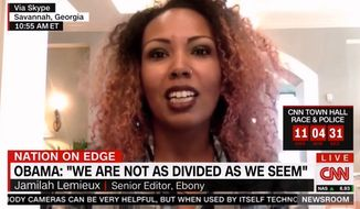 """Ebony magazine Senior Editor Jamilah Lemieux said she disagrees with President Obama's characterization of the Dallas cop killings as a """"hate crime,"""" because the shooter was targeting white people, or """"the majority group,"""" which have historically been abusive to blacks. (CNN via Breitbart)"""
