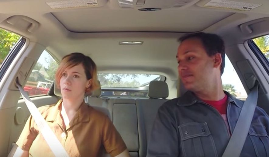 Two comedians, Alice Wetterlund and Nato Green, perform in a NARAL skit about driving to various clinics to get an abortion. (YouTube: NARAL Pro-Choice America, https://www.youtube.com/watch?v=IDouGWrIY78)