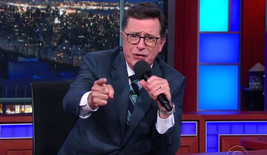 Late-night host Stephen Colbert told his audience on July 11, 2016, that Hillary Clinton is so dishonest that scandal-plagued FIFA wants to hire her for a job. (CBS screenshot)