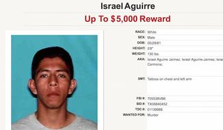 """Texas law enforcement officials are offering a $5,000 reward for information leading to the arrest of Israel Aguirre. Mr. Aguirre is listed as """"white"""" on the Texas Department of Public Safety's """"10 Most Wanted"""" list. (Texas Department of Public Safety)"""