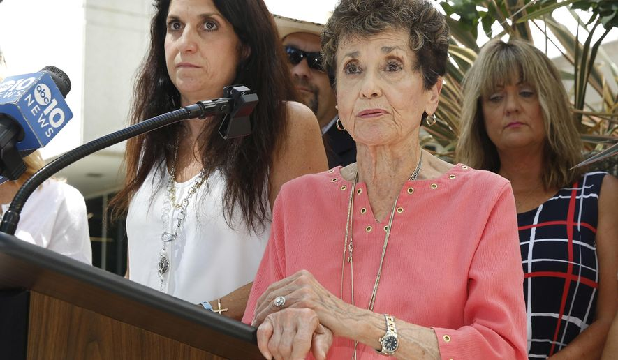 In this photo taken Tuesday, July 12, 2016, Harriet Salarno discusses the possible parole of her daughter's killer, Steven Burns, during a news conference in Sacramento, Calif. Catina Rose Salarno, was 18 when she was murdered in 1979 by Burns, her former boyfriend, who is serving a 17-to-life prison sentence. California parole officials are expected to decide on Burns' possible parole, Wednesday, July 13, 2016. On the left is another daughter, Nina Salarno. (AP Photo/Rich Pedroncelli)