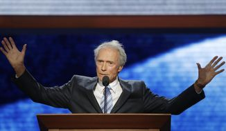 In this Aug. 30, 2012 file photo, actor Clint Eastwood addresses the Republican National Convention in Tampa, Fla. At the last Republican National Convention, the sight of Clint Eastwood onstage arguing to an empty chair quickly went viral. (AP Photo/Charles Dharapak, File)