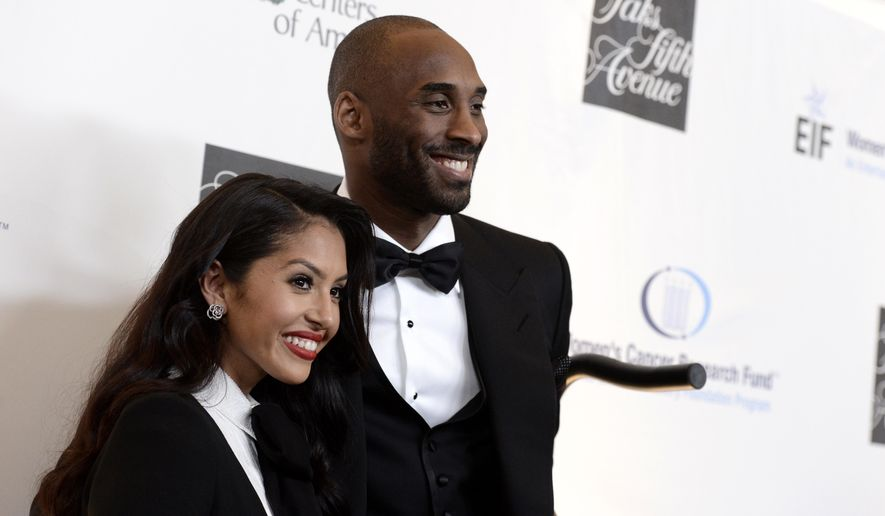 "FILE - In this May 2, 2013, file photo, Lakers guard Kobe Bryant, right, and his wife Vanessa Bryant arrive at ""An Unforgettable Evening"" benefiting EIF's Women's Cancer Research Fund at The Beverly Wilshire in Beverly Hills, Calif. Kobe Bryant revealed on Instagram July 12, 2016, that the couple is expecting another baby. (Photo by Dan Steinberg/Invision/AP, File)"