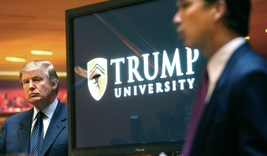 In this May 23, 2005, file photo, real estate mogul and Reality TV star Donald Trump, left, listens as Michael Sexton introduces him at a news conference in New York where he announced the establishment of Trump University. (AP Photo/Bebeto Matthews, File)