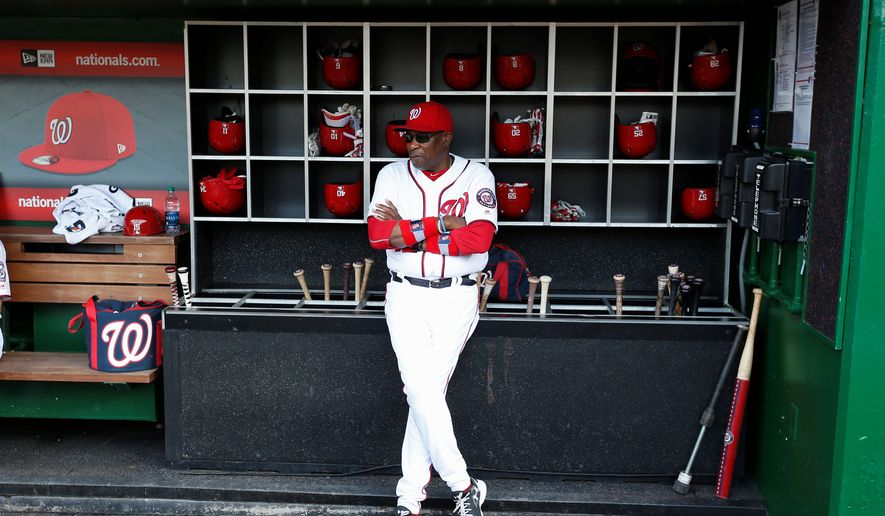 """With a six-game lead in the National League East division at the All-Star break, Washington Nationals manager Dusty Baker said """"I'm very pleased with the first half that we had. We know we can get even better."""" The Nationals open the second half of the season with a three-game series beginning Friday against the Pittsburgh Pirates. (Associated Press)"""