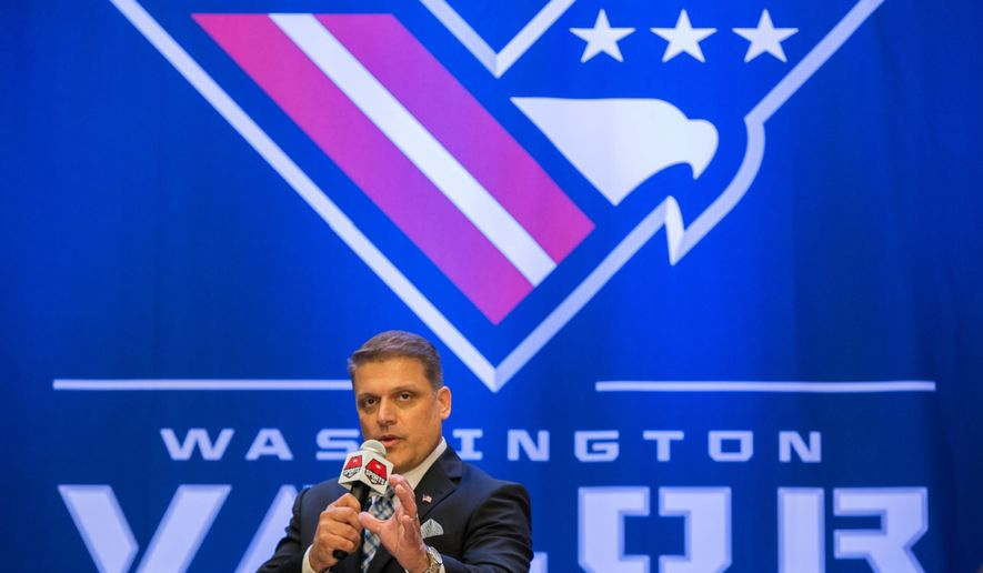 AFL Head Coach Dean Cokinos speaks during a news conference in Washington, Thursday, July 14, 2016, to unveil the Washington Arena Football League's team name, logo, and color.  (AP Photo/Zach Gibson)