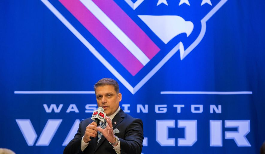 AFL Head Coach Dean Cokinos speaks during a news conference in Washington, Thursday, July 14, 2016, to unveil the Washington Arena Football League's team name, logo, and color.  (AP Photo/Zach Gibson) **FILE**