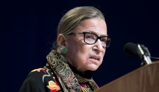 In this Jan. 28, 2016, file photo, Supreme Court Justice Ruth Bader Ginsburg speaks at Brandeis University in Waltham, Mass. Ginsburg says she regrets comments on Republican presidential candidate Donald Trump. (AP Photo/Michael Dwyer, File)