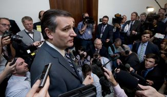 In this May 10, 2016, file photo, Sen. Ted Cruz, R-Texas speaks to reporters as he returns to the Capitol Hill in Washington. (AP Photo/Manuel Balce Ceneta, File)