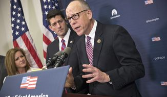 Rep. Greg Walden (right), Oregon Republican, accompanied by House Speaker Paul Ryan of Wisconsin (center) and Rep. Lynn Jenkins, Kansas Republican, speaks during a news conference on Capitol Hill in Washington on Jan. 6, 2016. (Associated Press) **FILE**