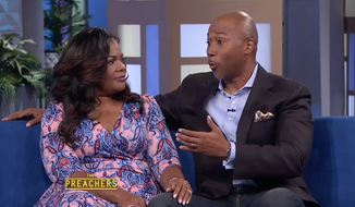 """Actress Mo'Nique with husband Sidney Hicks on the set of """"The Preachers"""" in July 2016. Taken from YouTube on July 14, 2016. [https://www.youtube.com/watch?v=c1qfiCbnXt0]"""