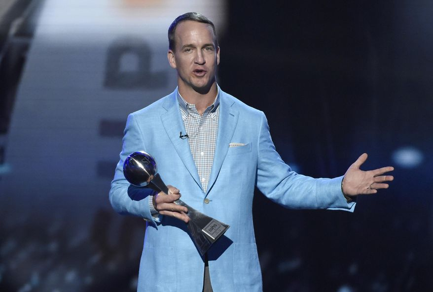 Former NFL football player Peyton Manning, accepts the icon award at the ESPY Awards at the Microsoft Theater on Wednesday, July 13, 2016, in Los Angeles. (Photo by Chris Pizzello/Invision/AP)