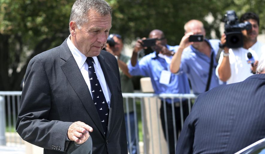 David Samson, center, former Port Authority of New York and New Jersey chairman, leaves Federal Court after a hearing Thursday, July 14, 2016, in Newark, N.J. Samson pleaded guilty Thursday to using his post to get United Airlines to run direct flights to South Carolina so that he could more easily visit his vacation home.(AP Photo/Mel Evans)