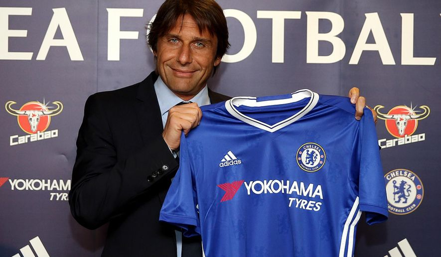 Chelsea's new manager Antonio Conte is unveiled during a press conference at Stamford Bridge, London, Thursday, July 14, 2016. Conte was appointed Chelsea boss on April 4 and takes up his role after leading Italy at Euro 2016, where they suffered a penalty shootout loss to Germany in the quarter-finals. (Steve Paston/PA via AP)