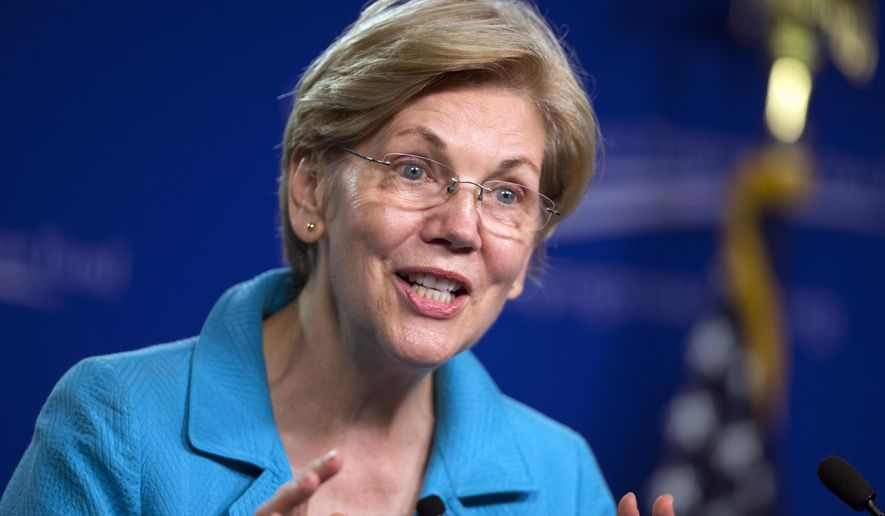 FILE - In this July 13, 2016, file photo, Sen. Elizabeth Warren, D-Mass. speaks to the Center of American Progress Action Fund in Washington. Warren is being considered as a vice presidential pick for Democratic presidential candidate Hillary Clinton. (AP Photo/Evan Vucci)