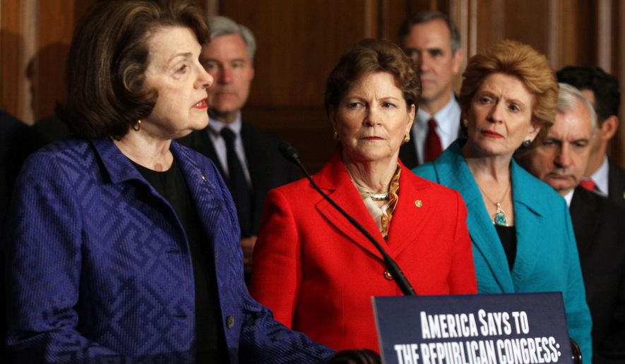Sen. Dianne Feinstein, D-Calif., left, speaks during a news on Capitol Hill in Washington, Thursday, July 14, 2016, to discuss unfinished business before Congress prior to its recess, From left are, Feinstein, Sen. Jeanne Shaheen, D-N.H., Sen. Debbie Stabenow, D-Mich. and Sen. Jack Reed, D-R.I.  (AP Photo/Lauren Victoria Burke)