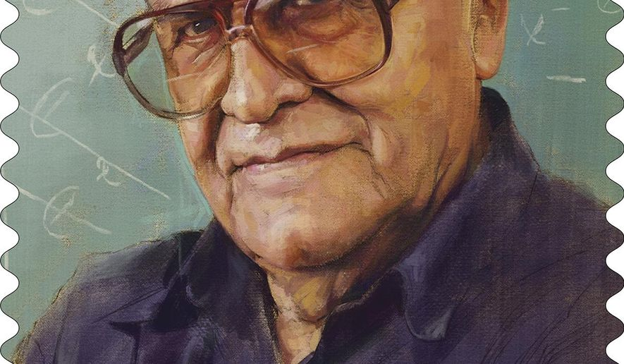 """This image provided by the U.S.Postal Service show the forever stamp honoring the late California calculus teacher Jaime Escalante, whose story about pushing underachieving students to succeed was chronicled in the 1988 hit movie """"Stand and Deliver."""" (USPS via AP)"""
