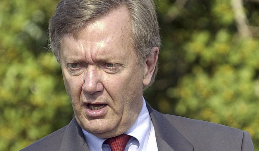 FILE - In this Jan. 16, 2001 file photo, then-Interior Secretary Bruce Babbitt speaks in Coronado, Calif. California Gov. Jerry Brown is hiring Babbitt to try to win approval for Brown's proposed giant water tunnels project as the doubts surrounding the $15.7 billion proposal increase  .(AP Photo/Lenny Ignelzi, File)