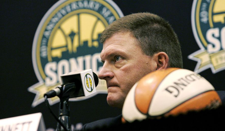 FILE - In this July 18, 2006 file photo, Clayton Bennett, head of the group of investors that bought the Seattle SuperSonics NBA basketball team, talks to reporters in Seattle. July 18, 2016 will mark 10 years since the Seattle SuperSonics NBA team -- the city's first professional sports franchise -- was sold by Starbucks CEO Howard Schultz and the Basketball Club of Seattle to Bennett and the Professional Basketball Club LLC based in Oklahoma City. (AP Photo/Ted S. Warren, file)