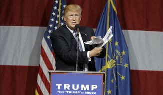 Republican presidential candidate Donald Trump speaks at a rally in Westfield, Ind., Tuesday, July 12, 2016. (AP Photo/Michael Conroy)