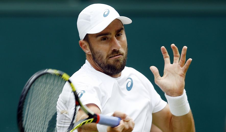 FILE - In this July 4, 2016, file photo, Steve Johnson, of the United States, returns to Roger Federer, of Switzerland, during their men's singles match in the Wimbledon Tennis Championships in London. Johnson had his appeal approved by the International Tennis Federation's Olympic Committee to compete at next month's Rio Games. (AP Photo/Kirsty Wigglesworth, File) **FILE**