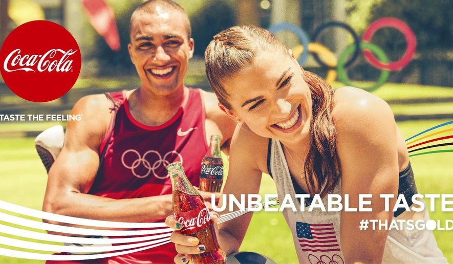 This photo provided by The Coca-Cola Company shows U.S. athletes Ashton Eaton and Alex Morgan in one of the ads from the company's Olympics campaign. Olympics marketers from Coca-Cola to Samsung are pulling out all the stops this summer, as sponsors face more challenges than ever before. (The Coca-Cola Company via AP)