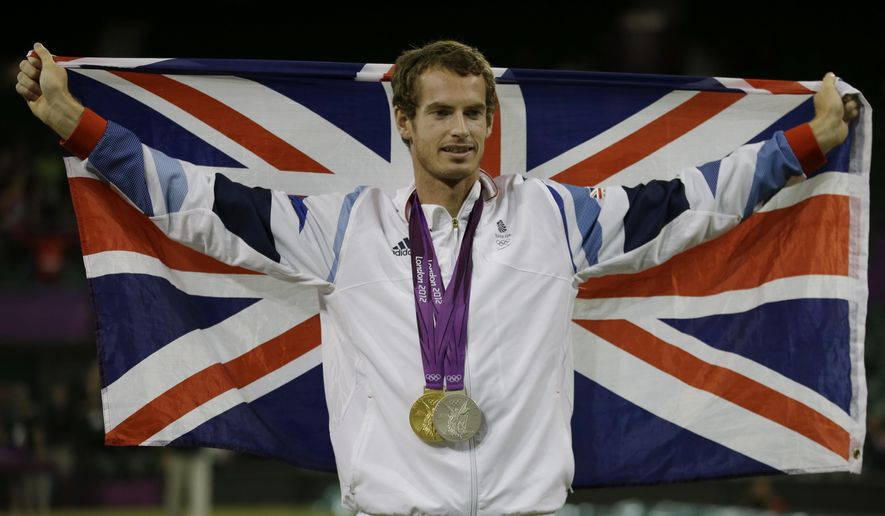 "FILe - In this Aug. 5, 2012, file photo, Andy Murray of Great Britain poses with his gold and silver medals in tennis at the All England Lawn Tennis Club in Wimbledon, London at the 2012 Summer Olympics.  The ""Big 4"" of men's tennis is enthusastic about the Rio de Janeiro Olympics, unlike their counterparts in golf. Consider what Britain's Murray said, the day after winning Wimbledon for the second time, when he was asked about the Olympics.  ""I've loved being in the two Olympics that I've been at,"" said the No. 2-ranked Murray, who won a gold in singles at the 2012 London Games. ""Rio is obviously a big, big goal of mine and hopefully I can perform well there.""(AP Photo/Mark Humphrey, File)"