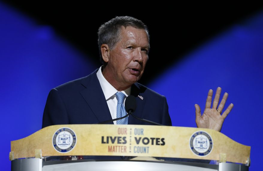 Ohio Gov. John Kasich addresses the 2016 National Convention of the NAACP on Sunday, July 17, 2016, in Cincinnati. (AP Photo/Gary Landers)